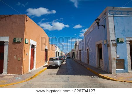Campeche, Mexico - January 31,2018: Typical Colonial Street In Campeche, Mexico. Historic Fortified