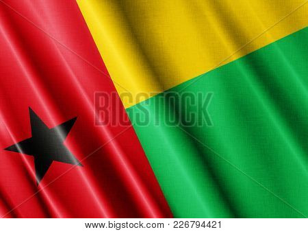 Guinea Bissau Textured Proud Country Waving Flag Close