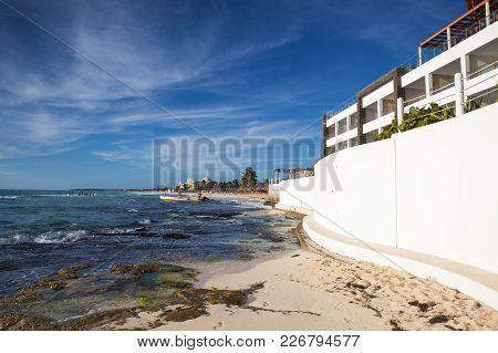 Playa Paraiso, Mexico - February 4, 2018: On  The Play Paraiso At Caribbean Sea Of Mexico. This Reso