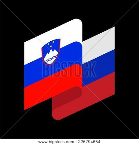 Slovenia Flag Isolated. Slovenian Ribbon Banner. State Symbol