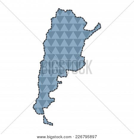 Dotted Line Map Of Argentina. Vector Illustration Design