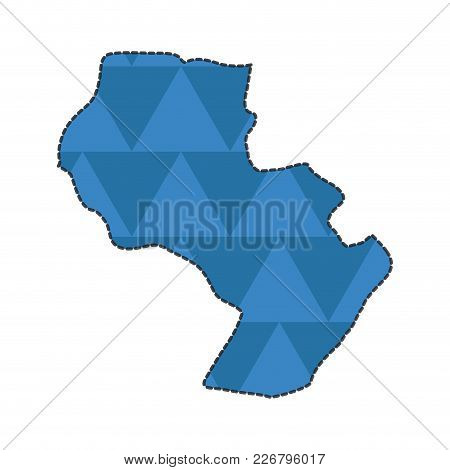 Dotted Line Map Of Paraguay, Vector Illustration Design