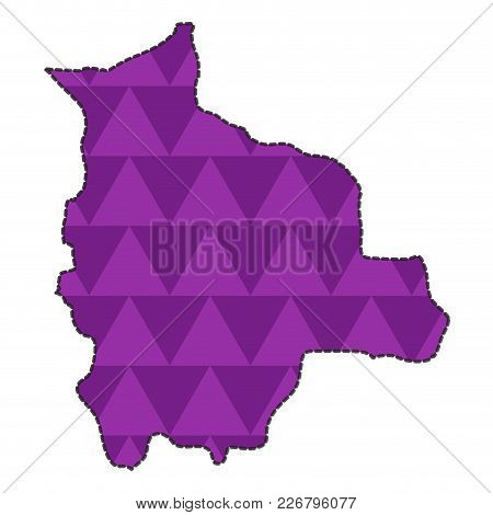 Dotted Line Map Of Bolivia. Vector Illustration Design