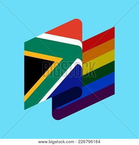 South Africa Lgbt Flag. South African Symbol Of Tolerant. Gay Sign Rainbow