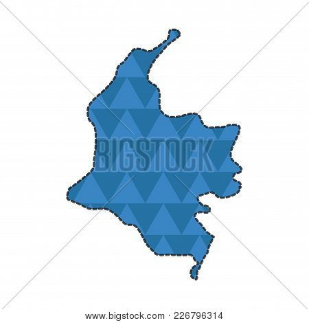 Dotted Line Map Of Colombia. Vector Illustration Design