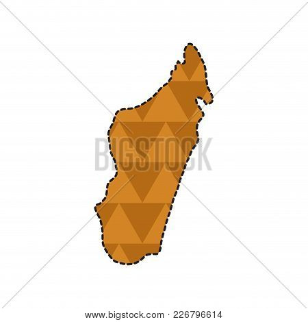 Dotted Line Map Of Madagascar. Vector Illustration Design
