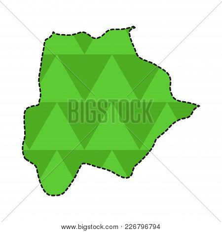 Dotted Line Map Of Botswana. Vector Illustration Design