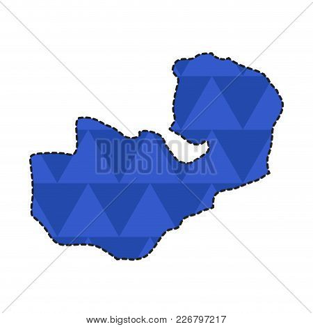 Dotted Line Map Of Zambia. Vector Illustration Design