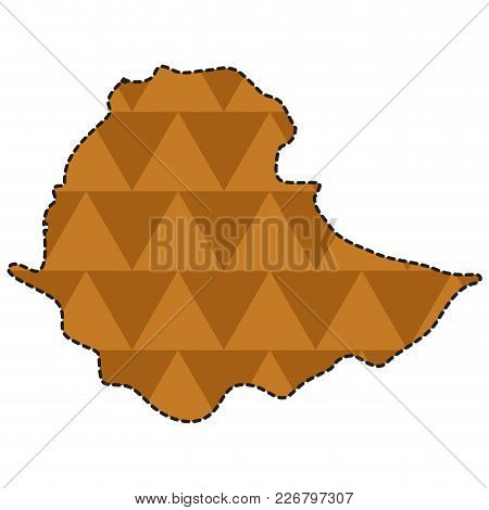 Dotted Line Map Of Ethiopia. Vector Illustration Design