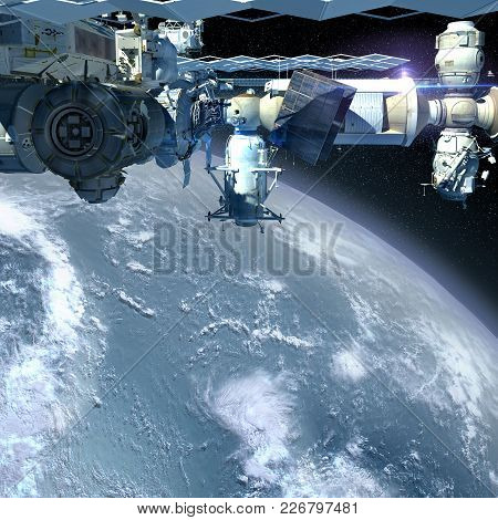 3d Illustration Of The International Space Station Flying Above Earth, In Detailed Close-up With Cop