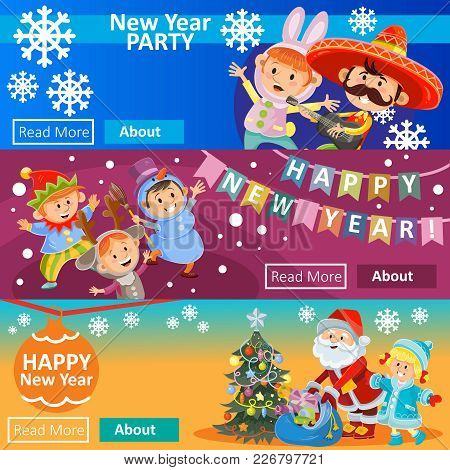 Vector Christmas Carnival Party, Matinee Invitation, Three Posters With Children In Costumes, Santa