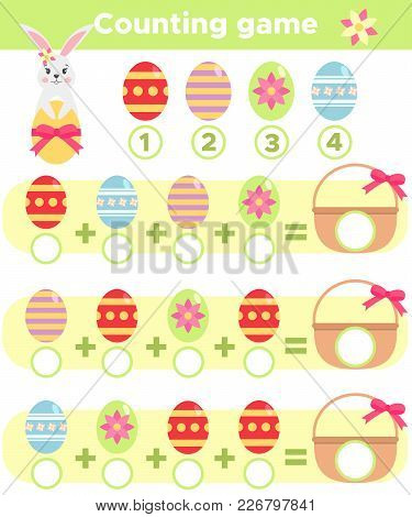 Counting Spring Game For Children. Help Easter Rabbit Count Eggs And Write The Result On The Basket.
