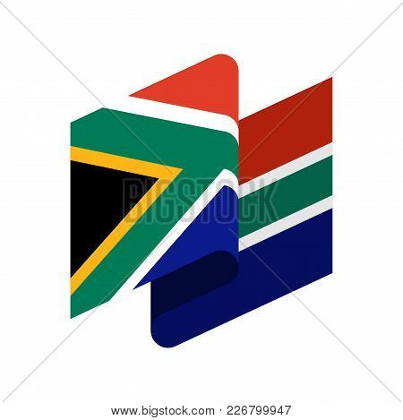 South Africa Flag Isolated. South African Ribbon Banner. State Symbol