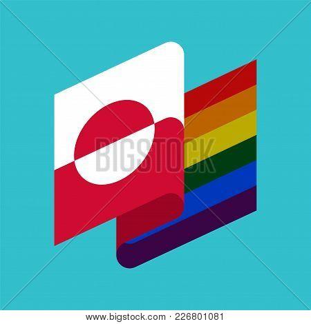 Greenland Lgbt Flag. Greenlandic Symbol Of Tolerant. Gay Sign Rainbow