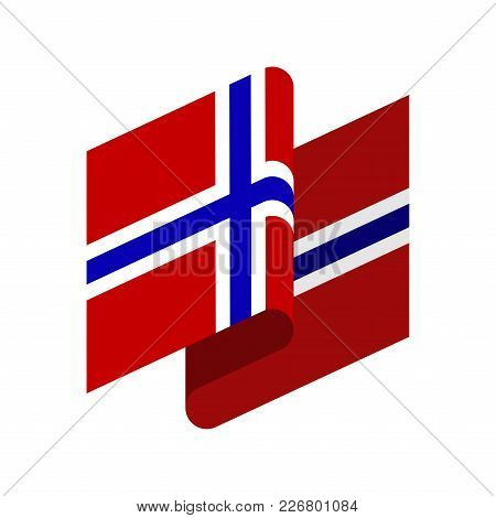 Norway Flag Isolated. Norwegian Ribbon Banner. State Symbol