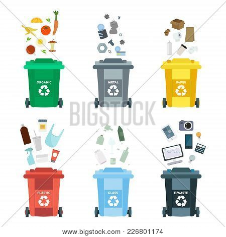 Vector Illustration, Set Of Flat Logo Symbols. Recycling Garbage Elements.