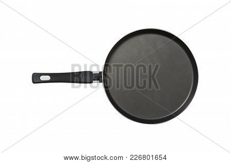 Pan. The Black. Kitchen Accessories. Tools For Cooking. A Spoon. Isolated On White Background. For Y