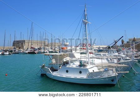 Summer Hot Day And The Fortress Of Heraklion On The Island Of Crete