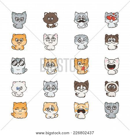 Cute Cartoon Cats And Dogs With Different Emotions. Sticker Collection. Vector Set Of Doodle Emoji A