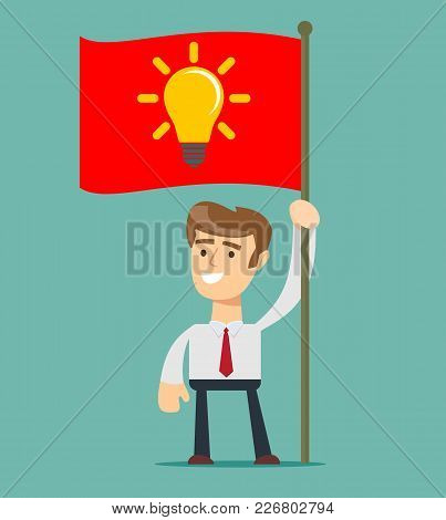 Businessman Holding Victory Flag. Star Up Business Man . Stock Flat Vector Illustration.