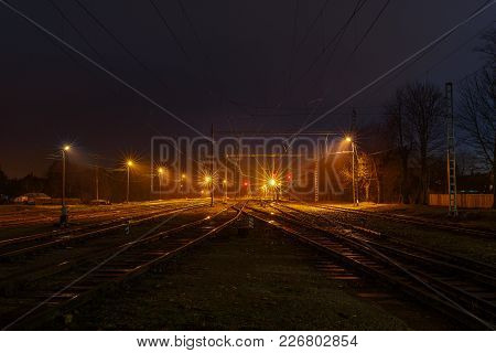 Empty Train Railroad Station At Night Time