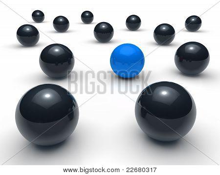 3D Ball Network Blue Black