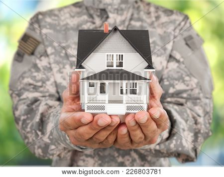Hands House Soldier Real Estate House Model Small House Giving House