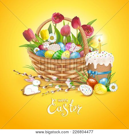Easter Composition With Realistic Glossy Eggs And Cookies In The Shape Of Eggs, Chicken, Bunny, Lamb