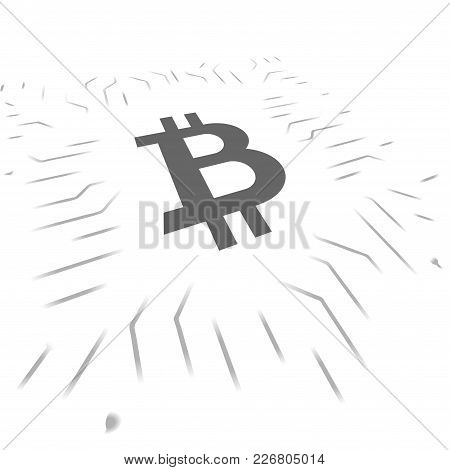 Gray Bitcoin Symbol With Electrical Circuit Isolated On White