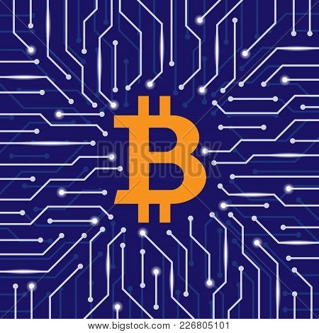 Blue Background With Orange Bitcoin Symbol Ang White Electrical Circuit