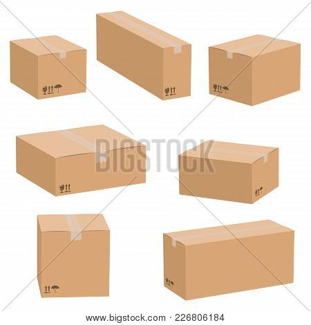 Set Of Cardboard Boxes Isolated On White Background. Vector Carton Packaging Box Images.
