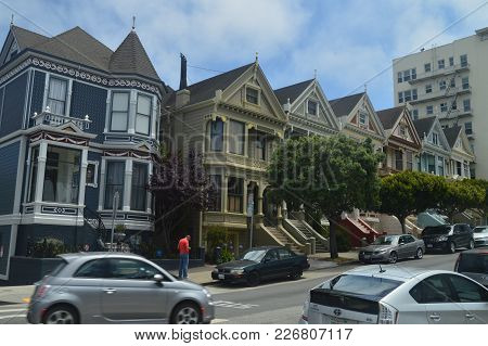 These Are The Painted Ladies Located On Alamo Street. Victorian Style Houses Known For Appearing In