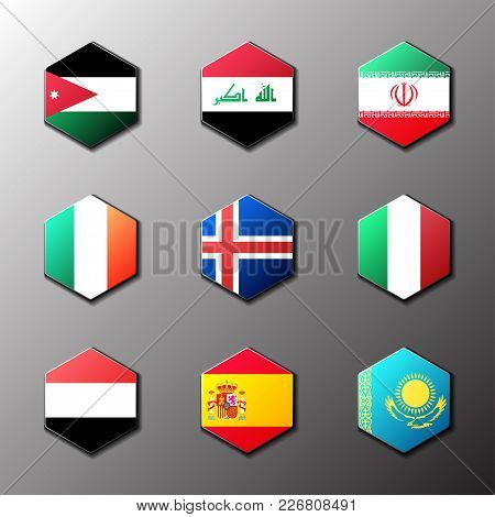 Hexagon Icon Set. Flags Of The World With Official Rgb Coloring And Detailed Emblems In Vector. Jord