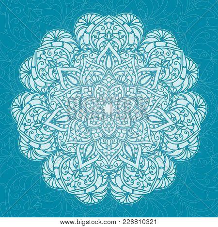 Hand Drawn Lace White Pattern On Blue Background. Ethnic Decorative Mandala. Elegant Floral Motif Fo