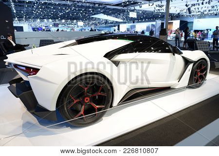 Dubai, Uae - November 17: The Wmotors Fenyr Supersport Car Is On Dubai Motor Show 2017 On November 1