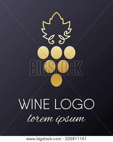 Gold Gradient Grapes Logo. Golden Wine Or Vine Logotype Icon. Brand Design Element For Organic Wine,