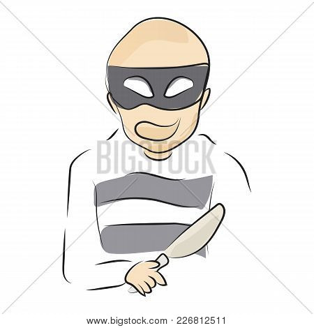 Graphic Design Editable For Your Design, Hand Drawn Robber Isolated On White Background. Vector Illu