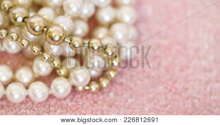 Beautiful White And Golden Pearls Jewelry Gift Close-up - Web Banner With Blank, Copy Space