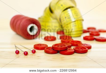 Diy Concept - Red Sewing Supplies - Web Banner Of Pins, Buttons, Thread And Tape Measure