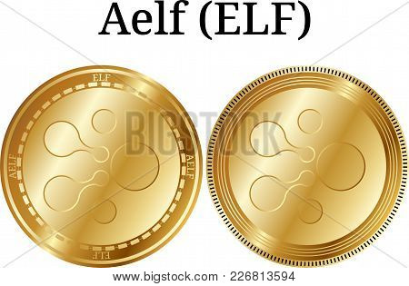Set Of Physical Golden Coin Aelf (elf), Digital Cryptocurrency. Aelf (elf) Icon Set. Vector Illustra