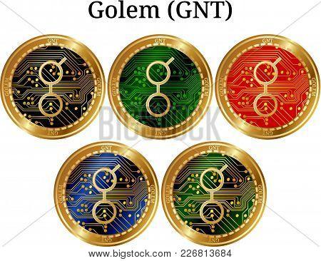 Set Of Physical Golden Coin Golem (gnt), Digital Cryptocurrency. Golem (gnt) Icon Set. Vector Illust