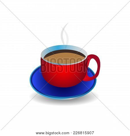 A Cup Of Coffee On A White Background. Vector Image For Your Design