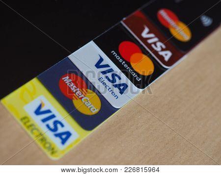 London, Uk - Circa February 2018: Many Visa And Mastercard Credit Cards