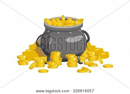 The Pot Is Filled With Gold Coins. Vector Illustration