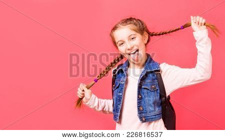 Portrait of smiling young little girl with two french braides on pink background