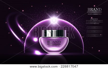 Cosmetics Beauty Series, Premium Body Cream For Skin Care On Purple Background, Template For Design