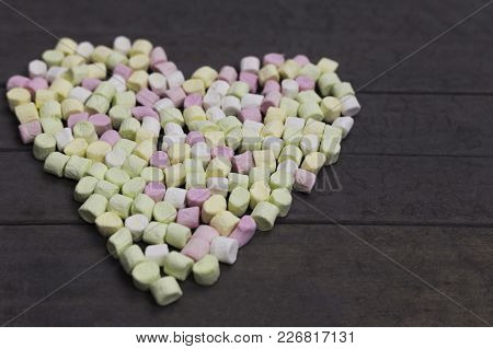 Sweet Heart Shape Of Marshmallows On Wood Background, Decoration For Love And Valentine Day Concept