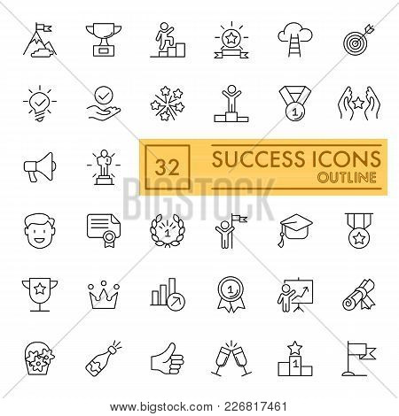 Success Set Of Line Icons. Simple Pictograms Pack. Vector Illustration On White Background. Outline