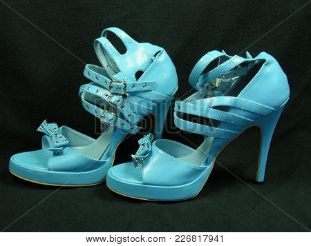 Hot Blue Spike High Heel Leather Shoes