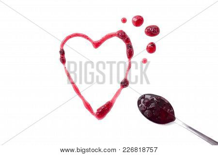 Berry Jam Splats Isolated On White, Shaped Heart